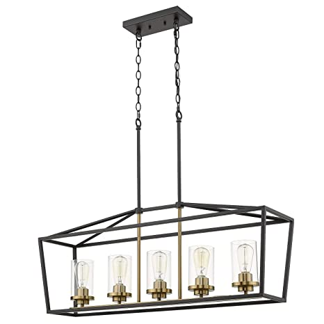 Outstanding Emliviar Modern 5 Light Kitchen Island Pendant Light Fixture Linear Pendant Lighting Black And Gold Finish With Clear Glass Shade P3033 5Lp Download Free Architecture Designs Scobabritishbridgeorg