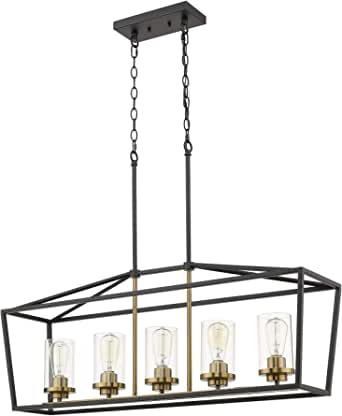 Emliviar Modern 5 Light Kitchen Island Pendant Light Fixture Linear Pendant Lighting Black And Gold Finish With Clear Glass Shade P3033 5lp Amazon Com