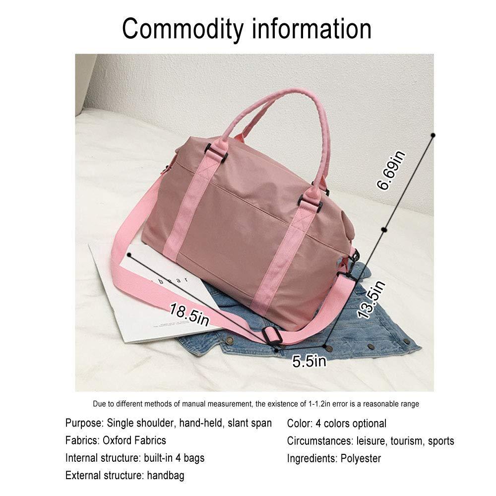 pink Gym Bag for Women Shoulder Tote Travel with Wet Pocket Handbag Bag Lightweight Waterproof Bag Oxford Cloth Weekender Bag Overnight Carry-on Bag