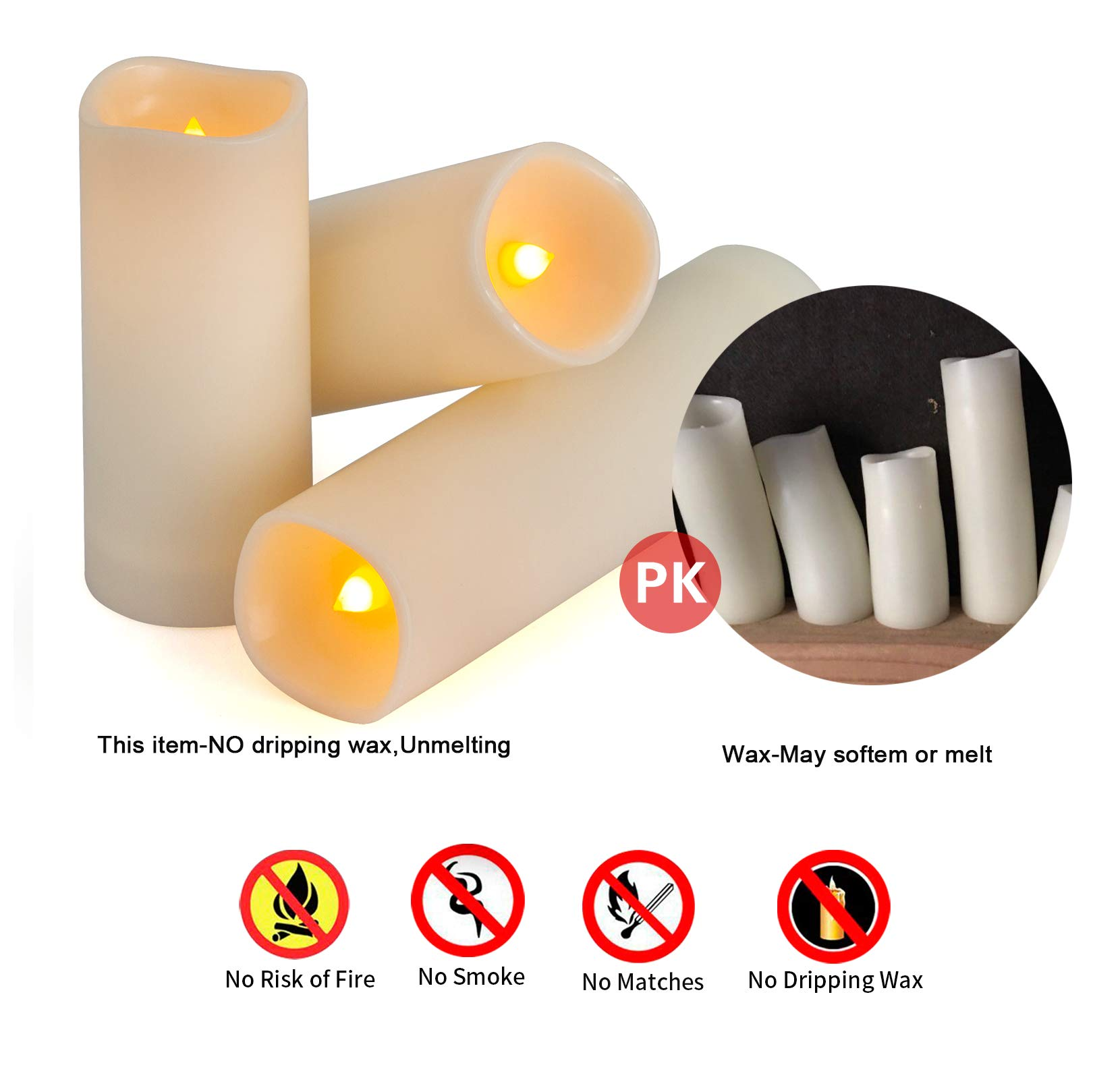 Flameless Candles, Waterproof Outdoor Candles set of 9 ( D 2.2'' X H 5''5''6''6''6''7''7''7''7'' ) LED Candles Battery Operated Candles with Remote Timer, Ivory White by Enido (Image #5)