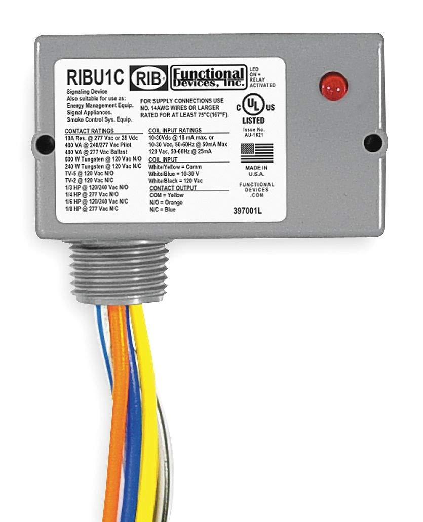 Functional Devices Rib Enclosed Pre-Wired Relay, 10 to 30VAC/DC, 120VAC Coil Volts, SPDT Contact Form - RIBU1C