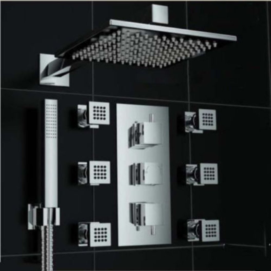 Directsale92 Thermostatic Shower Faucet 8'' Rainfall 6 Massage Jets Hand Shower Mixer Chrome