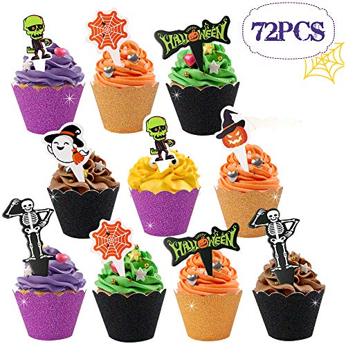 Haojiake 72pcs Halloween Cupcake Wrappers and Toppers, Spider Web Pumpkin Ghosts Zombie, Halloween Party Favor Decorations Supplies