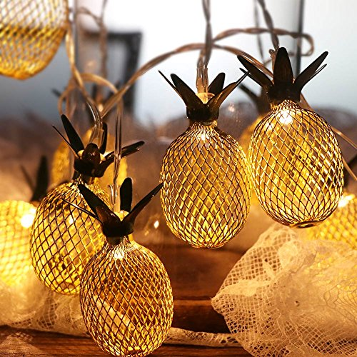 OurWarm Pineapple LED String Lights 5.4Ft Fairy Lights Battery Operated for Hawaiian Luau Party Supplies, 10pcs Hanging Indoor/Outdoor Bulbs]()