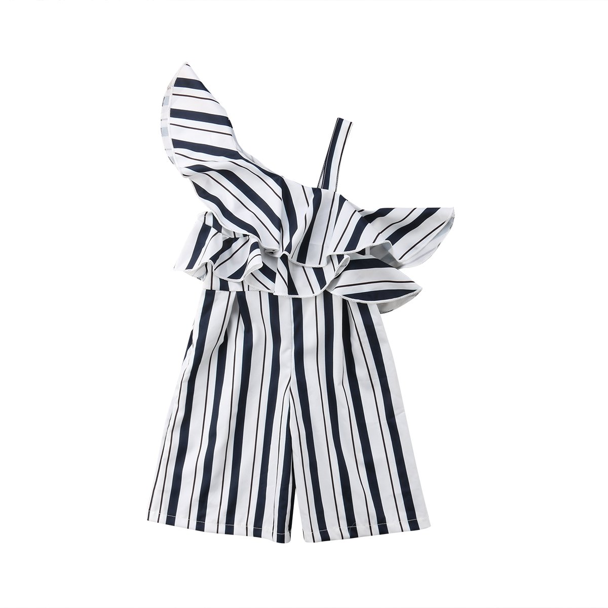 Stripe Ruffle Off Shoulder Girls Jumpsuit Casual One Piece Girls Romper Clothing Sets (6-7T)