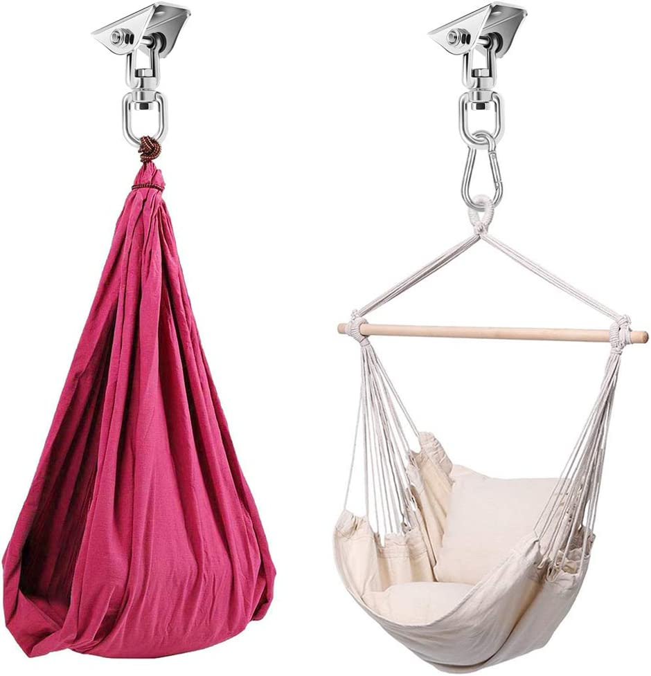 OKPOW Heavy Duty Swing Hangers Set Permanent Antirust Stainless Steel 304 Hanging Kit Swivel Hammock Hooks 360/° Rotation with 4 Screw//4 Expansion Bolts for Yoga Seat Hammock Chair Sandbag Swing Sets