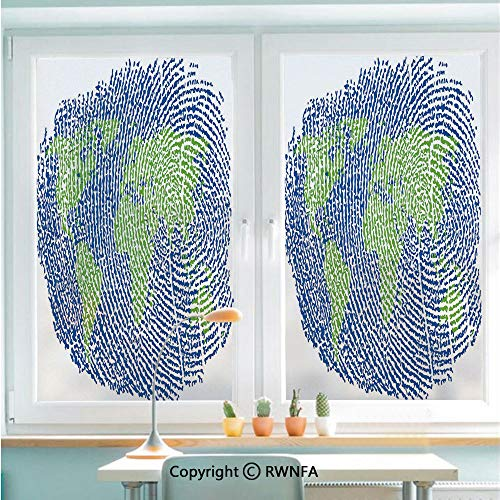RWNFA Window Film Door Sticker Map of The World Fingerprint Style Continents Asia Europe Africa America Glass Film Both Suitable for Home and Office,22.8 x 35.4inch,Navy Blue Green