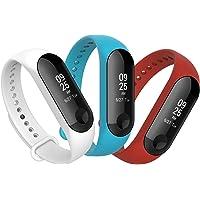 Anjoo [3-Unidades Correa para Xiao Mi Band 3 Smart Bracelet, Correa Banda de Deportes Silicona Reemplazo para Xiaomi Mi Band 3 (Blanco/Rojo/Azul)