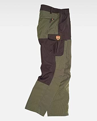 Work Team Pantalon combinado, con 2 bolsos laterales, 2 traseros y 1 bolso en pernera. HOMBRE Verde Caza/Marron L: Amazon.es: Ropa y accesorios