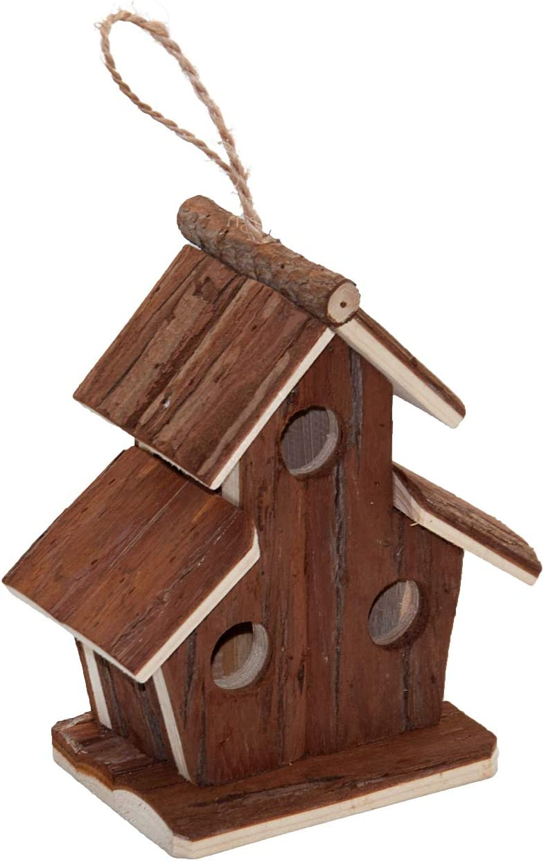 Flying Spoon Wooden Bird Houses, Handmade Hanging Birdhouse for Indoor & Outdoors Decor Garden Patio Decorative for Bluebirds, Wrens & Chickadees (3 Holes)