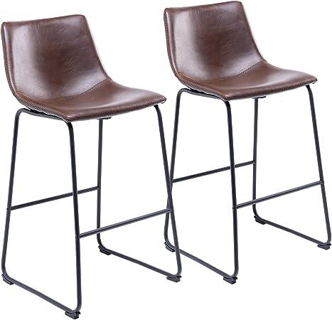 Rfiver Chaise De Bar Bistrot De Style Industriel Vintage Tabouret Avec Siege Haut Et Dossier En Cuir Pu Et Repose Pieds Confortable Pour Cuisine Bar