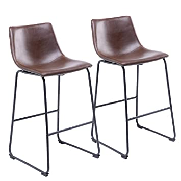 Astonishing Rfiver Counter Height Bar Stool Chairs Vintage Pu Leather Bar Stools With Back And Footrest Antique Brown Set Of 2 Bs1004 Inzonedesignstudio Interior Chair Design Inzonedesignstudiocom