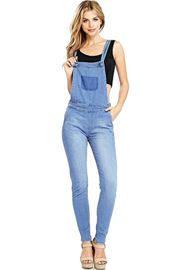 cbbb823516b Amazon.com  Celebrity Pink Women s Juniors Skinny Leg Denim Overalls ...