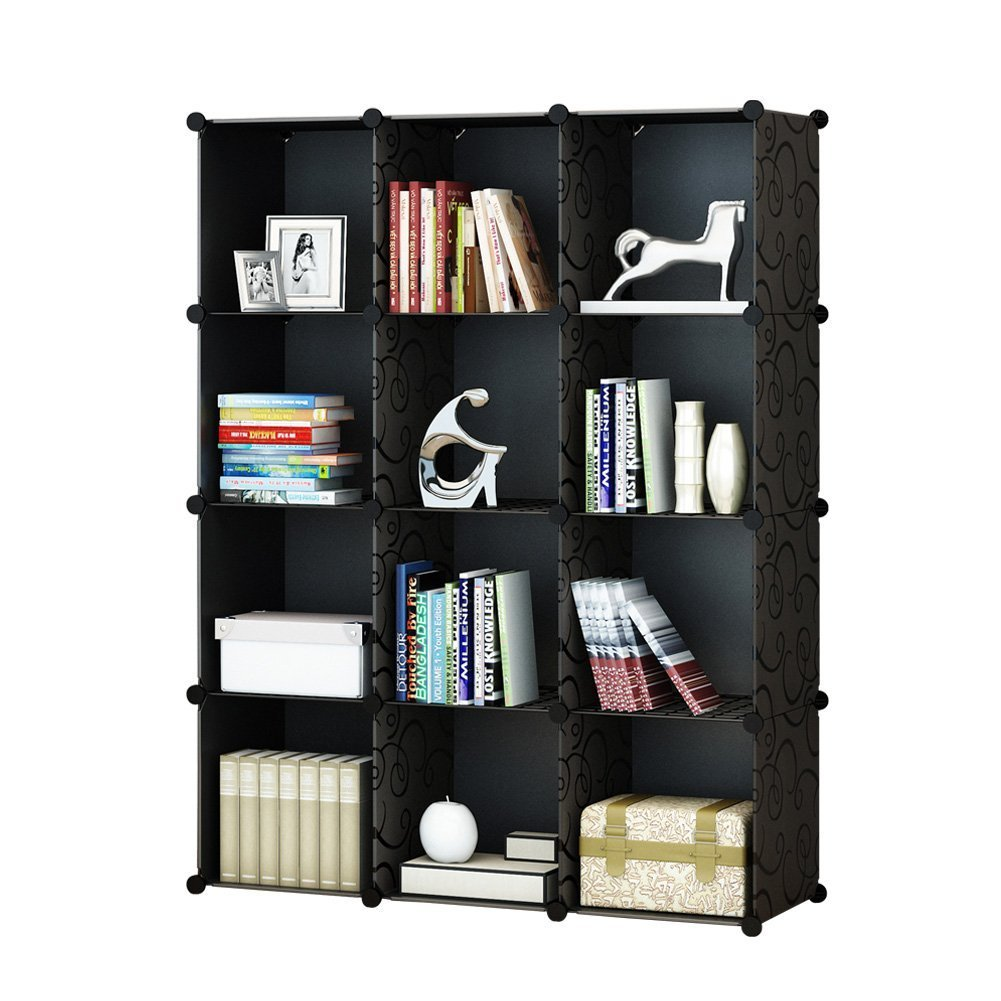 12-Cube Modular DIY Storage Cube Organizer by Tespo 4 tier Shelving Bookcase Cabinet Closet Black (12 - Regular Cube) Ya Hua Shu Jia CB04KA