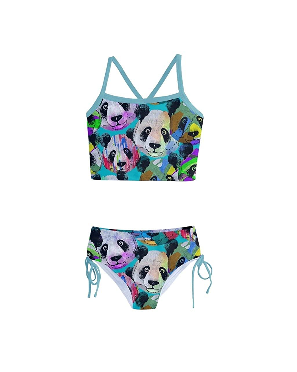 be63cc690612e PattyCandy Kid Girls Swimsuits Gradient Happy Birthday Panda & Circus Theme  2-Piece Tankini Size ...