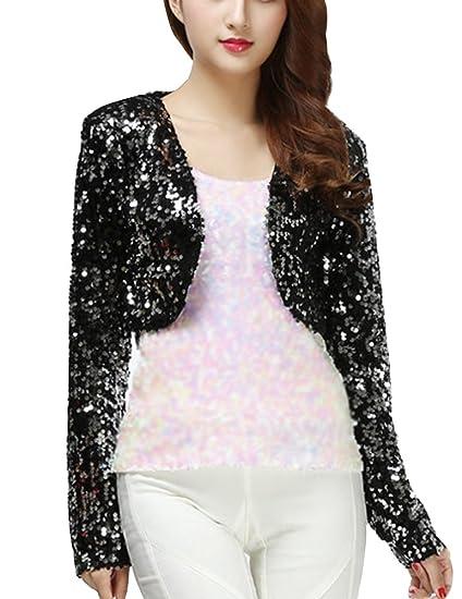 5aced1b7d9 Women Sequin Shrug Blouse Cropped Top Open Cardigan Jacket New Year Xmas  Party Black OneSize  Amazon.co.uk  Clothing