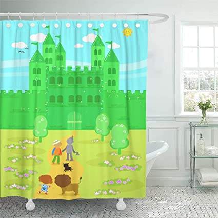Emvency Shower Curtain Yellow Castle The Wizard Of Oz Dorothy With Her Dog Scarecrow And Tin