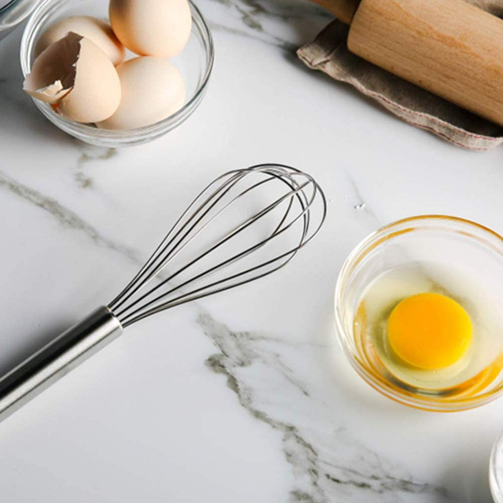 Whisking Set of 3 Beating /& Stirring 8//10//12 Inches kengb Stainless Steel Kitchen Whisk,Eggbeater Hand Whisk,Mini Balloon Wire Whisk for Blending