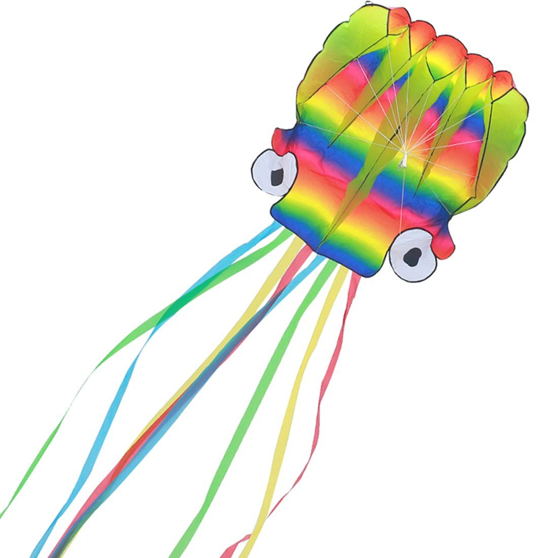 Giant Octopus Kite for Kids and Adults - Large Rainbow Easy Flyer with 157-Inch Long Tails