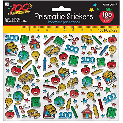 amscan 100th Day of School Prismatic Party Stickers, 100 Ct, Multicolor]()