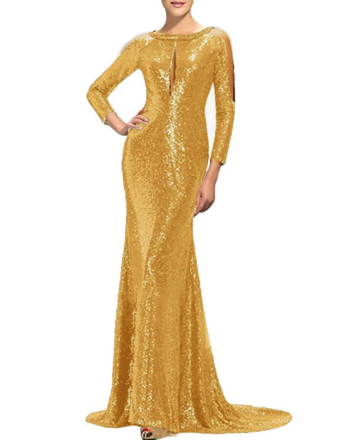 gold C CIRCLEWLD Sequins Mermaid Evening Gowns Long Sleeves Sleeveless for Women Wedding Party E122