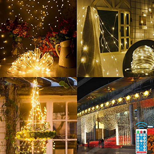 105 FT 300 LED Solar String Lights Outdoor Waterproof Solar Fairy Lights with 8 Modes Remote Control, PVC Coating Solar Lights with Detachable Connector for Patio Yard Garden Tree Party.
