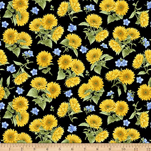 Henry Glass & Co. Henry Glass Garden Tossed Sunflowers Black/Multi, Fabric by the Yard