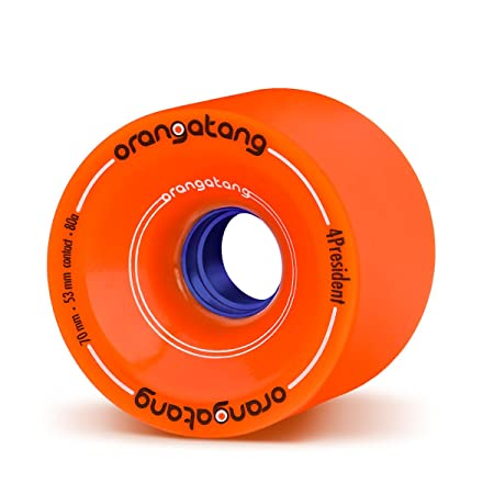 Orangatang 4 President 70 mm 80a Cruising Longboard Skateboard Wheels w/Loaded Jehu V2 Bearings (Orange, Set of 4)
