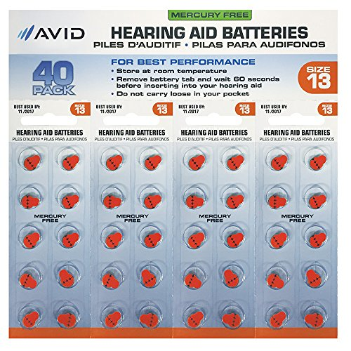 Avid Hearing Aid #13 Battery (40 Count) by Avid