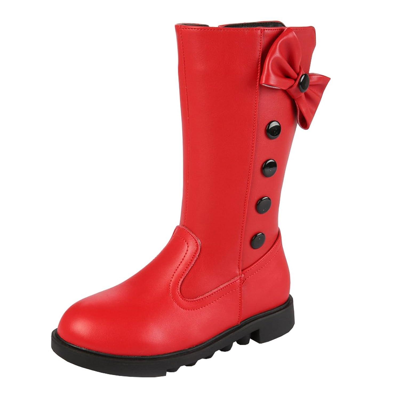 AHATECH Filles Bottes Hiver Boots en Cuir PU Chaussures enfant Fille - Rouge,26