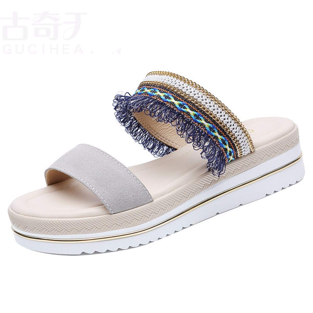 GTVERNH Frauen Schuhe Mode Für Frauen Schuhe Leder Damen - Sandalen Sommer Dicke Hintern Schuhe Mode Tragen
