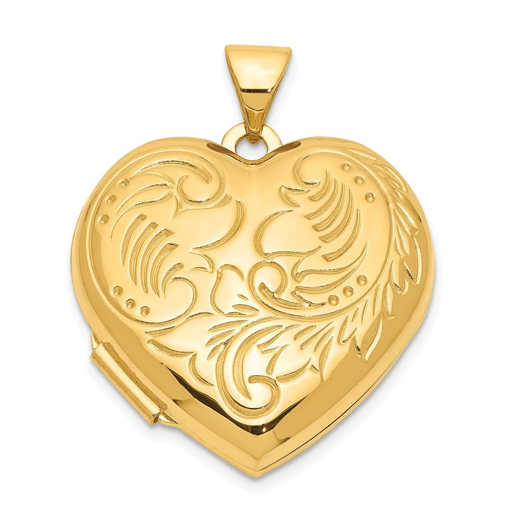 14k Yellow Gold Domed Heart Photo Pendant Charm Locket Chain Necklace That Holds Pictures Fine Jewelry Gifts For Women For Her