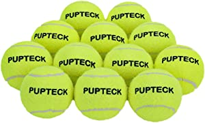 PUPTECK 12 Pack Dog Squeaky Tennis Balls for Playing Training, Safe, Durable and Interactive Doggy Toys for Teething Chew