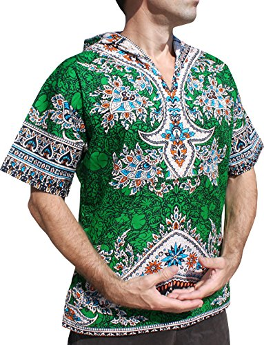 RaanPahMuang Dashiki Shirt Festival Party Hoody Short Sleeve, X-Large, Dark Green by Raan Pah Muang