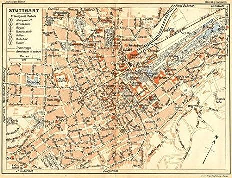 Amazoncom GERMANY Stuttgart 1914 old map antique map