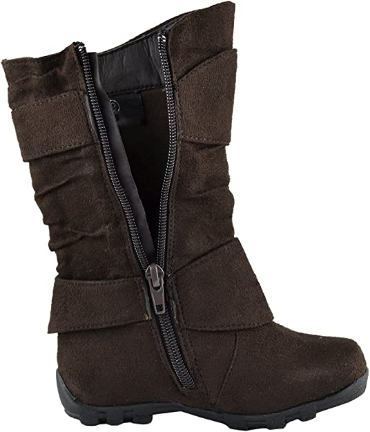 Kids Mid Calf Boots Loose Ruched Buckles Side Zipper Closure AS-1530-1BROWN