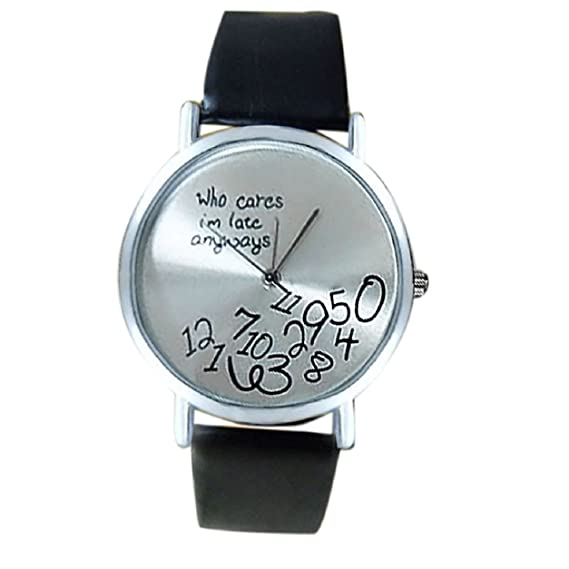 Malloom® Who Cares I am Late Anyway PU cuero relojes mujer negro
