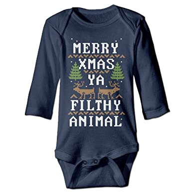 36d6a15ba DX&PPF Merry Xmas Ya Filthy Animal Funny Newborn Baby Long Sleeve Baby  Rompers Jumpsuit Babysuit