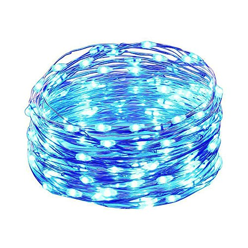 HAHOME Waterproof Fairy String Lights,33Ft 100 LEDs Indoor and Outdoor Starry Lights with Power Supply for Christmas Halloween Wedding and Party Decoration,Blue
