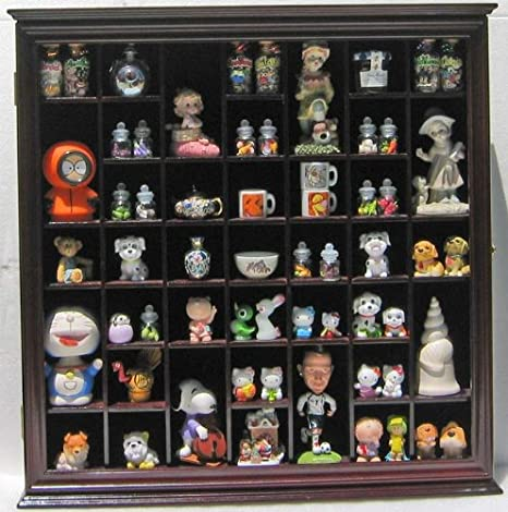 Wooden Glass Front Wall Hanging Curio Display Case With 22 Fixed Openings