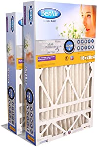 """BestAir SG413-BOX-13R AC Furnace Air Filter, 16"""" x 28"""" x 4"""", MERV 13, Removes Allergens & Contaminants, Fits 100%, For Aprilaire/SpaceGard Models, Pack of 2"""