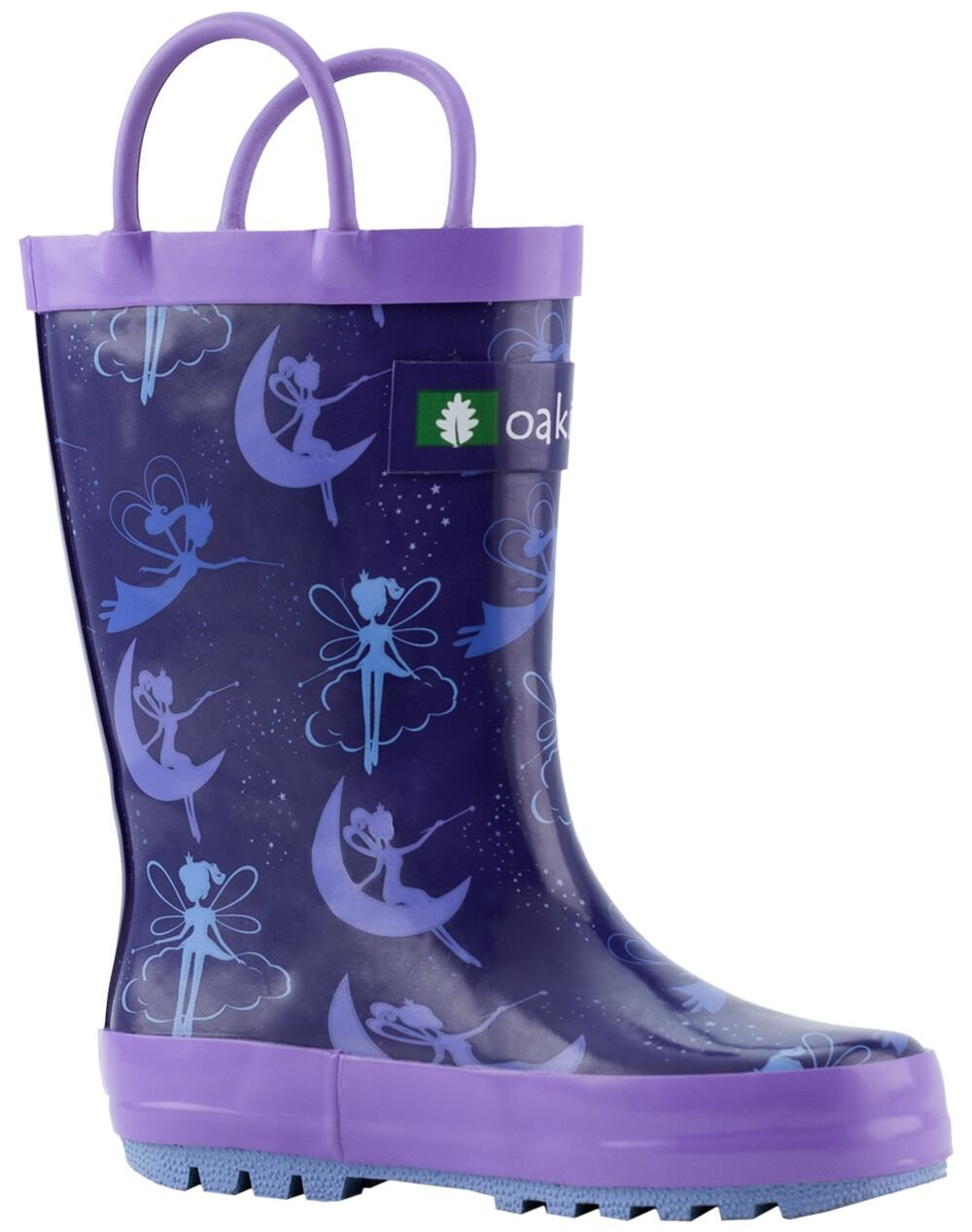 Oakiwear Kids Rubber Rain Boots with Easy-On Handles, Fairy Dust, 1Y US Little Kid