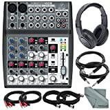 Behringer XENYX 1002 - 10 Channel Audio Mixer and Accessory Bundle w/ Closed-Back Headphones + 6X Cables + Fibertique Cloth