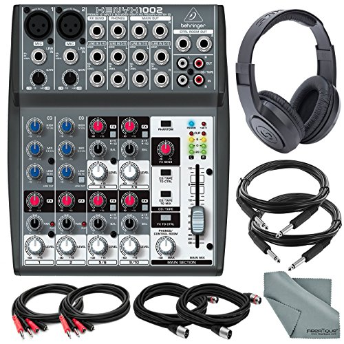 Behringer XENYX 1002 - 10 Channel Audio Mixer and Accessory Bundle w/ Closed-Back Headphones + 6X Cables + Fibertique Cloth by Photo Savings