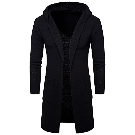 Cardigan Long Trench Coat Hurrybuy Mens Slim Fit Hooded Knit Sweater