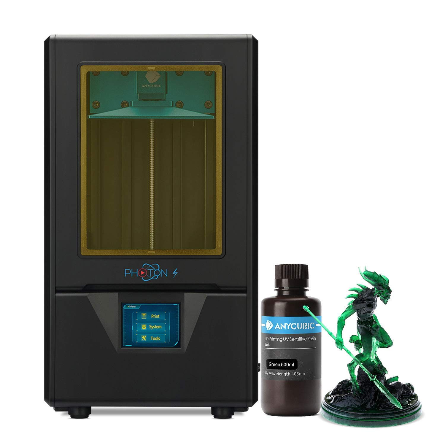 ANYCUBIC Photon S 3D Printer with 500ml Resin, UV LCD Resin Printer with Dual Z-axis Linear Rail, Air Filtering System, 2K Screen & Off-line Printing, Printing Size 4.5