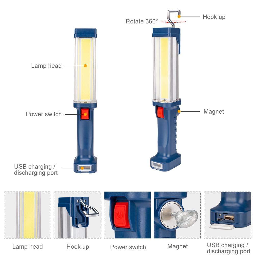 G-lucky l/ámpara de inspecci/ón led Camping Corte de energ/ía 700lm de Alto Brillo luz de Trabajo Recargable COB USB con Gancho magnetico Conveniente para la reparaci/ón de autom/óviles