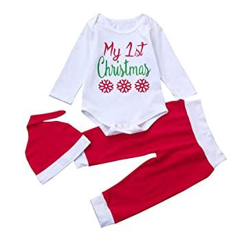 3c0a8aa8ef2 Newborn Infant Baby Boys Girls Long Sleeve Letter Print Romper+Pants+Hat Christmas  Outfits
