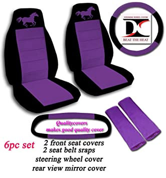 Black And Purple Running Horse Seat Covers Steering Wheel Cover