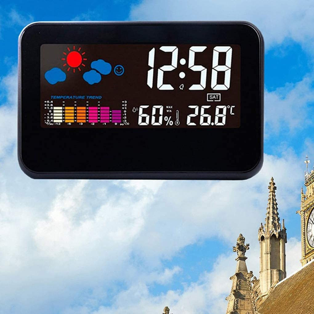 Bodbii Station m/ét/éo num/érique hygrom/ètre temp/érature Compteur thermom/ètre Horloge Calendrier Alarme /écran Couleur